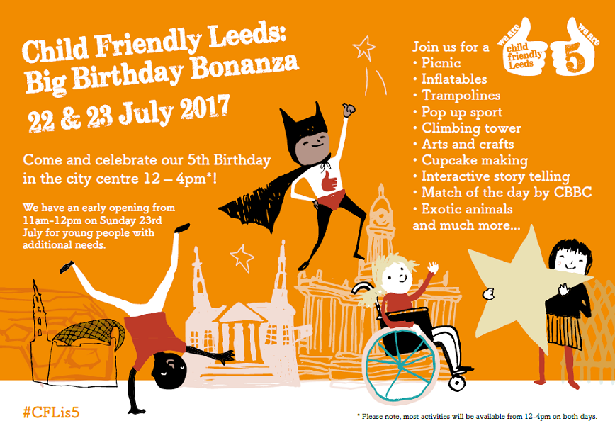 Child Friendly Leeds Big Birthday Bonanza poster