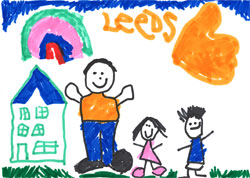 Child's drawing of a family in front of a house