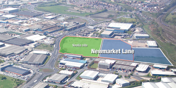 Aerial view of Newmarket Lane site