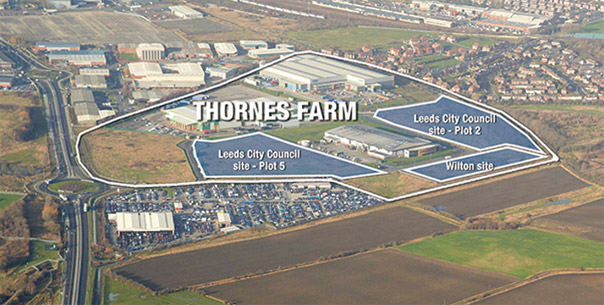 Aerial view of the Thornes Farm site