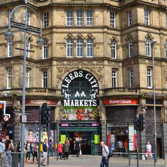 the entrance to Kirkgate Market