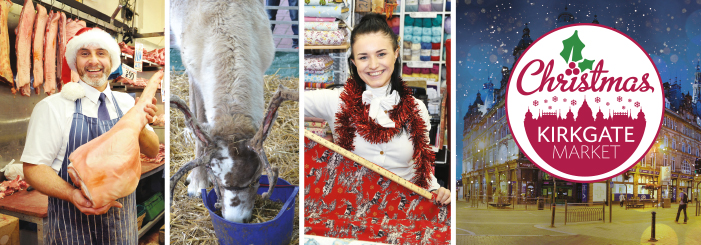 a montage of images showing the Market at Christmas
