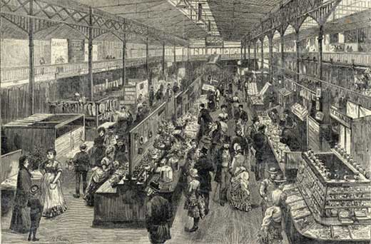 Illustration of Kirkgate market in the 19th century